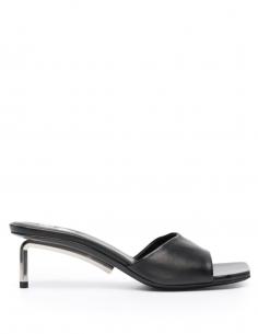 """Sandales ouvertes """"ALLEN"""" à talon et bout carré noires"""