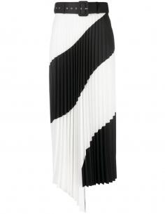 Pleated Sun Asymmetrical Two-Tone Skirt