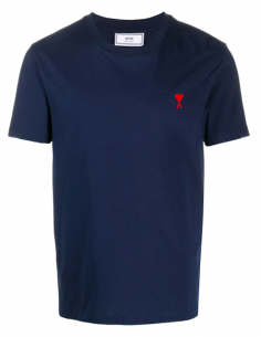 BLUE TEE-SHIRT LITTLE RED HEART EMBROIDERED