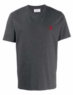 GREY TEE-SHIRT LITTLE RED HEART EMBROIDERED