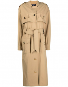 Half-Long Golden Button Belted Trench Coat - Beige