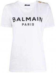 T-shirt à logo imprimé et boutons dorés - Blanc