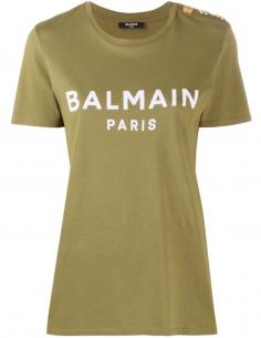 T-shirt à logo imprimé et boutons dorés - Kaki