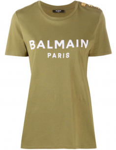 T-shirt with logo print and gold buttons - Khaki