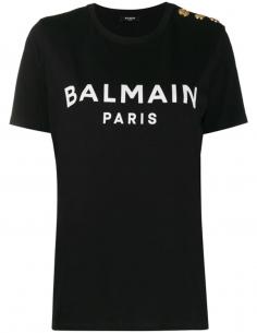 T-shirt à logo imprimé et boutons dorés - Noir