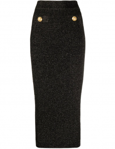 Lurex tube skirt with two gold buttons - black