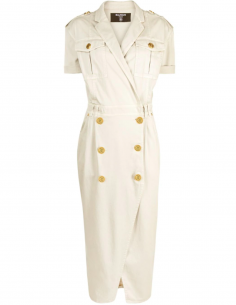 Medium Wrap Dress with Button Down Details - Beige