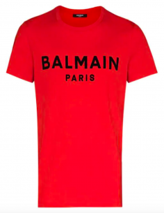 Printed velvet logo t-shirt - red