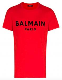 T-shirt BALMAIN rouge avec logo embossé texturé en velours pour homme - SS21