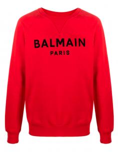 Velvet textured logo sweater - red