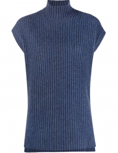 Blue High Collar Sleeveless Sweater