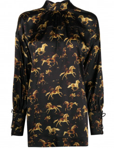 Long shirt with horse printed