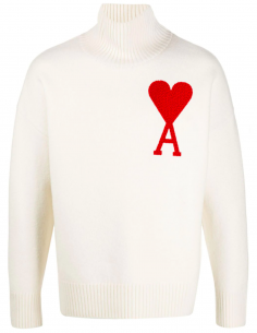 Pull écru Col Roule Logo Coeur Rouge Oversize