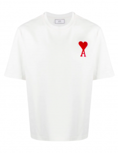White TEE WITH BIG RED HEART LOGO EMBROIDERED