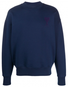 Blue ROUND COLLAR SWEATSHIRT WITH TONE-ON-TONE RED HEART