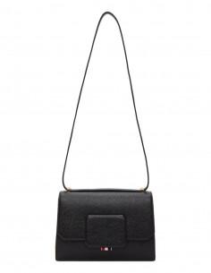 Black Grained Leather Shoulder Box Bag