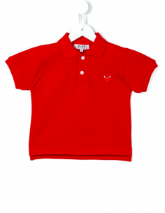 CDG PLAY KIDS - Polo rouge à patch logo coeur rouge