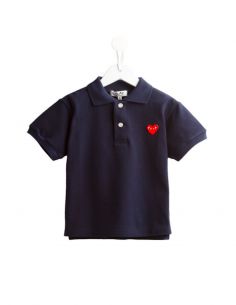 CDG PLAY KIDS - Polo bleu à patch logo coeur rouge