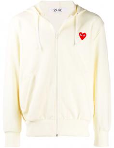 Sweat écru zippé à capuche avec patch coeur rouge