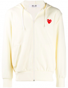 Ecru zip-up hoody with red heart patch