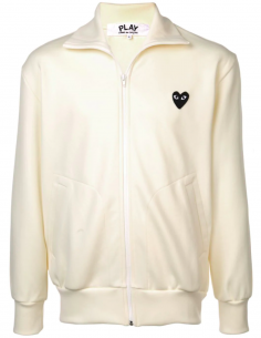 Ecru track jacket with black heart logo