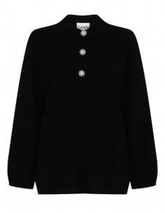 Pull à col boutonné bijoux - noir