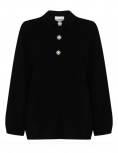Jewellery button-down collar sweater - black