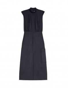 Sleeveless dress with lace back in wool