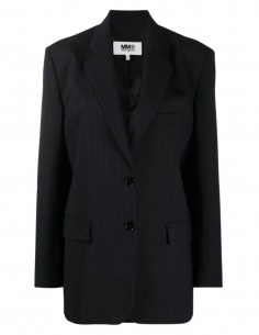 Oversized navy striped blazer jacket
