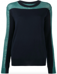 Contrasting sweater in blue and black material