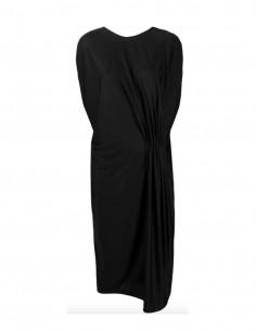 black draped sleeveless dress