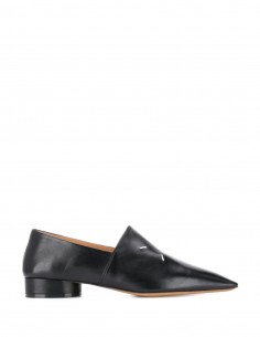 Black pointed toe leather loafers