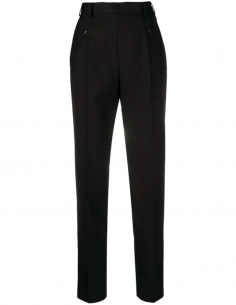 High waisted straight trousers in black wool