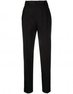 Pantalon droit taille haute en laine noir