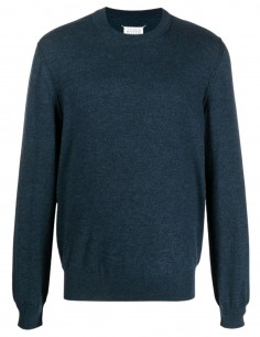 Round Neck Elbow Sweater - Blue