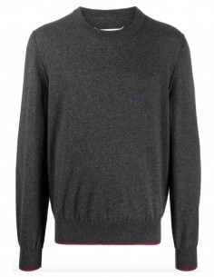 Round Neck Elbow Sweater - Grey