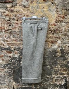 Tweed Grey Herringbone Straight Pants