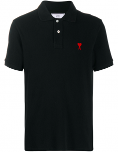 Logo Polo Shirt «heart» red embroidered - black