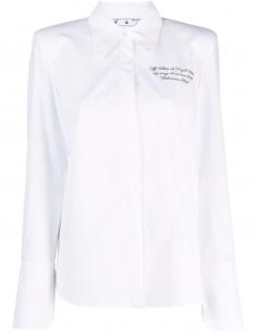Chemise à logo brodé blanche en coton