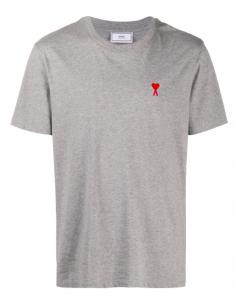 T-shirt logo « coeur » brodé gris - AMI PARIS