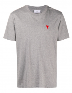 Grey t-shirt with embroidered heart logo - AMI PARIS