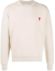 AMI PARIS beige sweatshirt with round neck and red heart logo - SS21