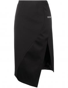 Black asymmetrical slit pencil skirt