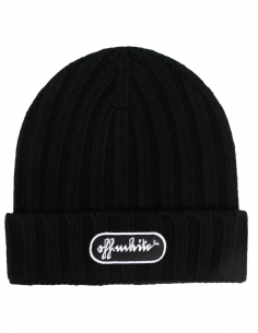 Black ribbed logo beanie