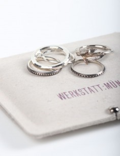 "Set of 5 ""Rosebud"" rings in silver WERKSTATT:MUNCHEN."
