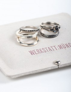 Set of 5 different rings in silver WERKSTATT:MUNCHEN.