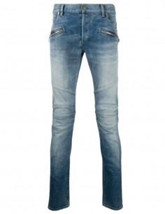BALMAIN Slim-cut biker jeans in blue SS21