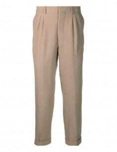 Pantalon carotte AMI PARIS beige à plis pour homme - SS21