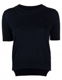 MAISON MARGIELA blue sweater for women with short sleeves and embroidered logo - SS21