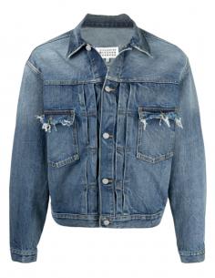 Veste en jean denim bleu oversize pour homme avec poches coupées franc - SS21